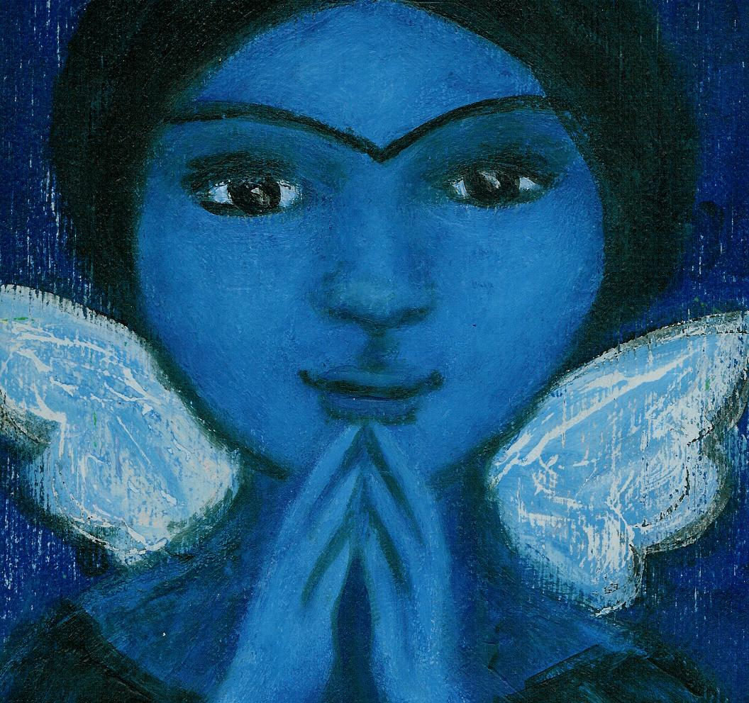 """PRAY"" blue angel painting by outsider artist Bethann Shannon"