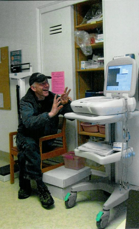 "My friend David doing ""FIRE MARSHALL BILL BURNS"" comedy at the hospital!"