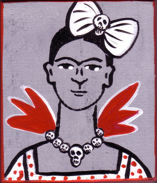 Frida Kahlo with skull bow